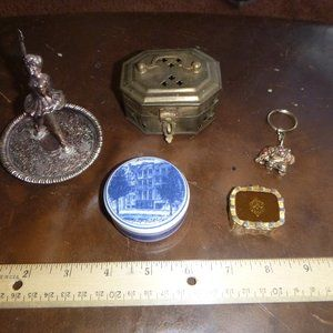 Lot of 6 Small Jewelry Trinket Boxes Organizers